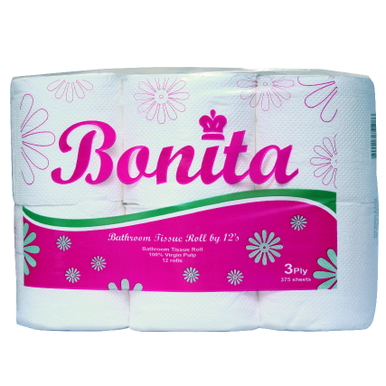 Bonita Tissue Roll 3-Ply 450 Sheets by 12s