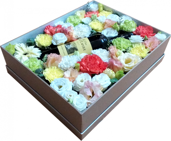 Flower and Wine Gift Box